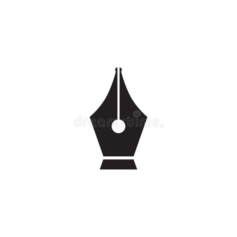 Icône noire de graine de stylo-plume d'isolement sur le fond blanc Signe d'outil de stylo Vecteur illustration stock
