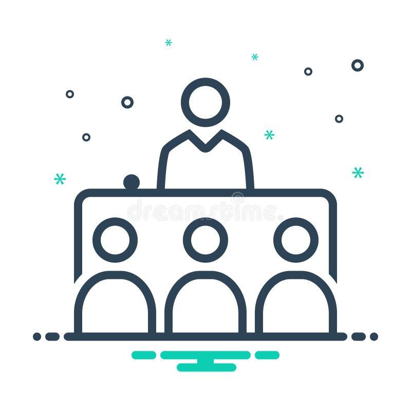 Icône noire de mélange pour l'entrevue, la présentation et politique illustration stock