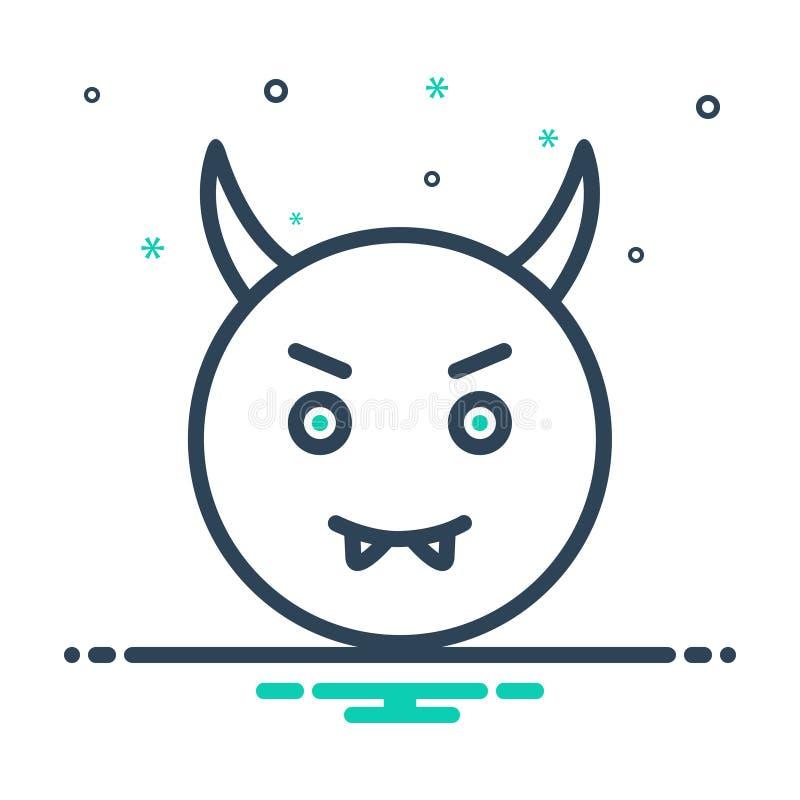 Icône noire de mélange pour le diable, mauvais et satan illustration de vecteur