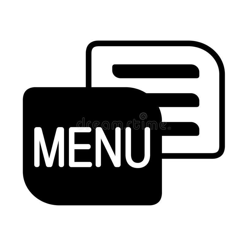 Icône noire de menu de vecteur sur le fond blanc Symbole simple pour la navigation Bouton pour plus d'usage illustration libre de droits