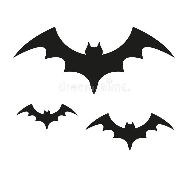 Icône noire de silhouette de batte D'isolement sur le fond blanc Concept de Veille de la toussaint Flittermouse effrayant Illustr illustration libre de droits
