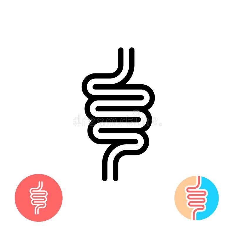 Icône noire de symbole d'intestins illustration stock