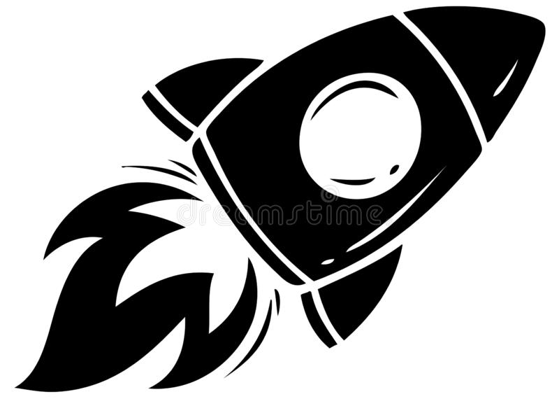 Icône noire de vecteur de fusée de vol de silhouette illustration de vecteur