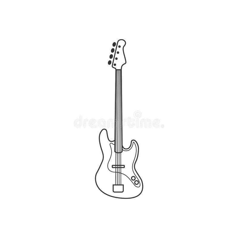 Icône noire et blanche de guitare basse Ensemble d'isolement de ficelle de vecteur illustration de vecteur
