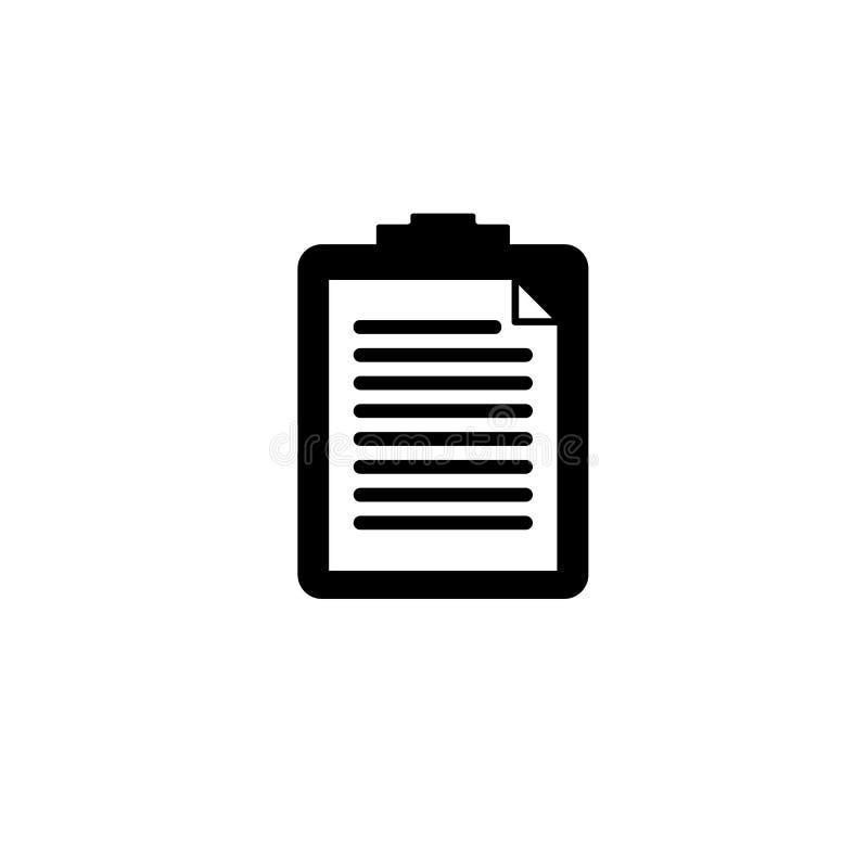 Icône noire et blanche de presse-papiers illustration stock
