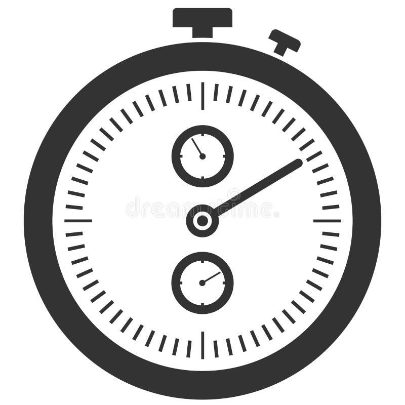 Icône noire et blanche plate simple de chronomètre illustration libre de droits