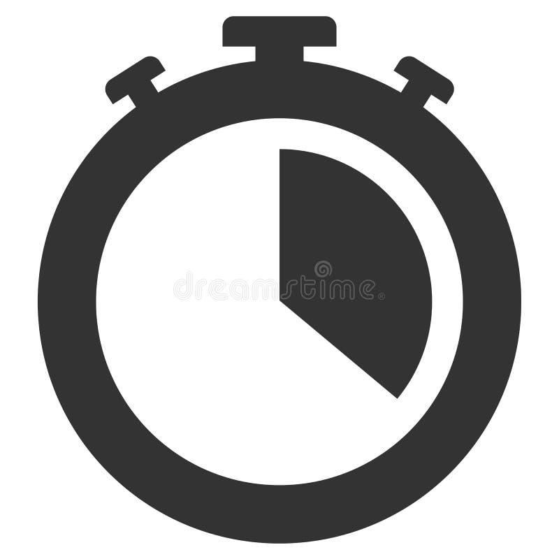 Icône noire et blanche plate simple de chronomètre illustration stock