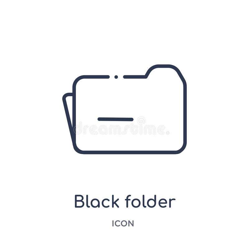 Icône noire linéaire de dossier de collection d'ensemble d'éducation Ligne mince icône de dossier de noir d'isolement sur le fond illustration de vecteur