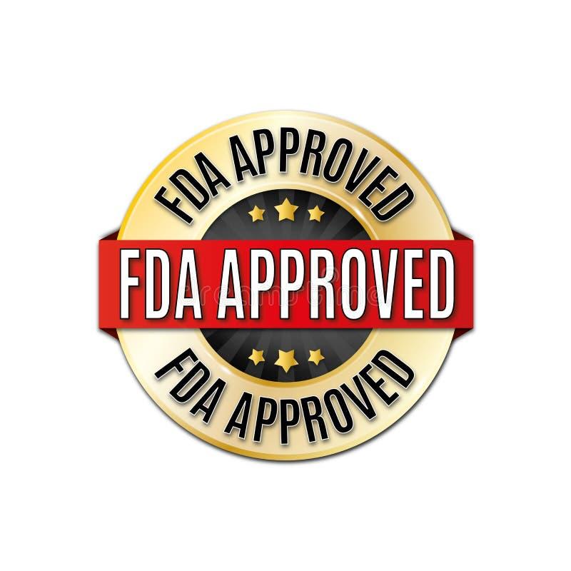 Icône noire rouge d'or de Web de médaille de rond approuvé par le FDA illustration stock