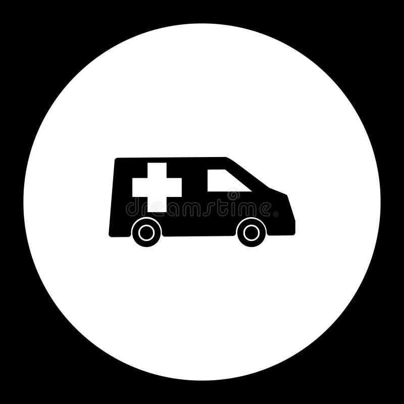 Icône noire simple eps10 de transport de voiture d'ambulance illustration de vecteur