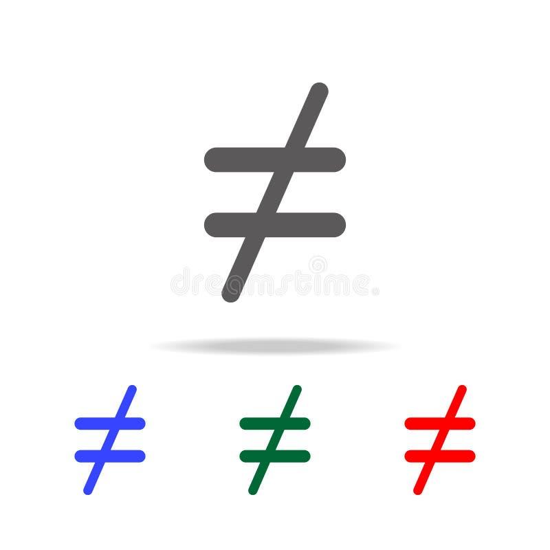 icône non égale Éléments dans les icônes colorées multi pour les apps mobiles de concept et de Web Icônes pour la conception de s illustration stock