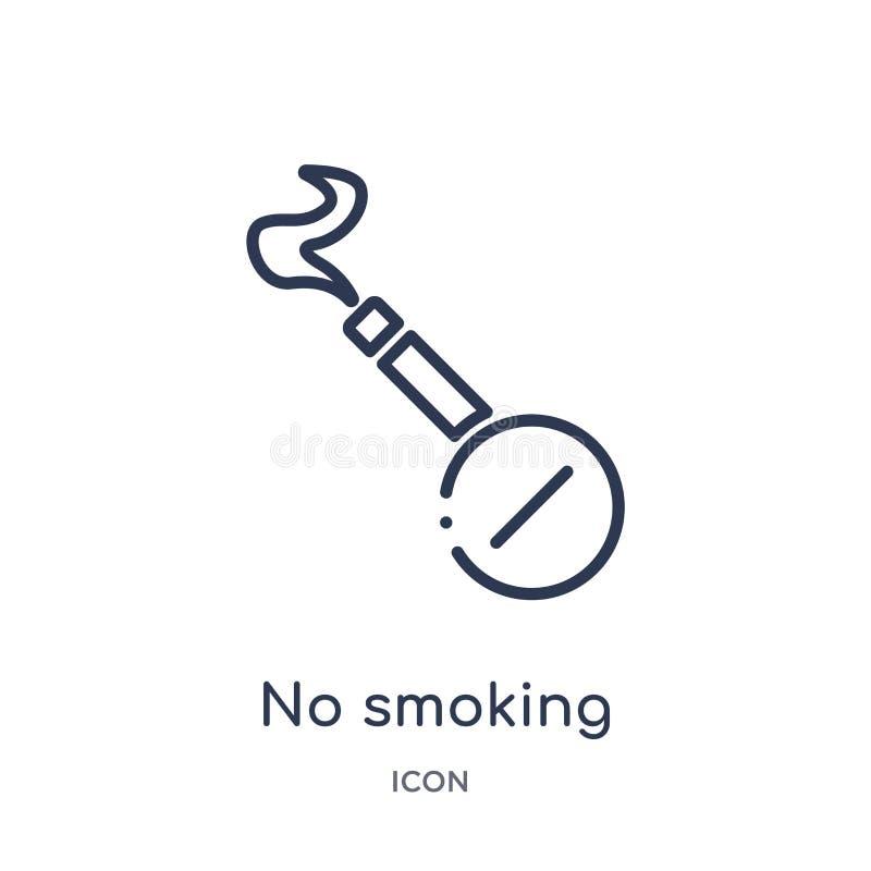 Icône non-fumeurs linéaire de collection d'ensemble de terminal d'aéroport Ligne mince vecteur non-fumeurs d'isolement sur le fon illustration stock