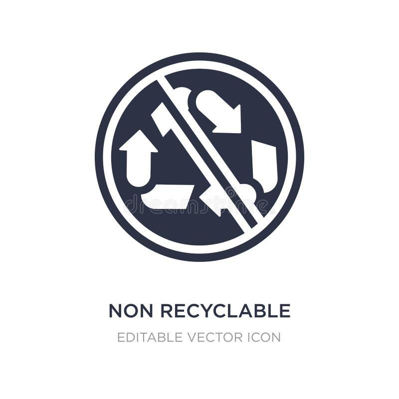icône non recyclable sur le fond blanc Illustration simple d'élément de concept de formes illustration libre de droits