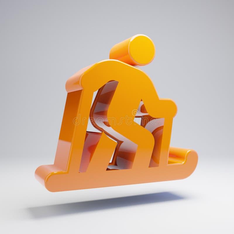 Icône nordique de ski orange chaude brillante volumétrique d'isolement sur le fond blanc illustration libre de droits