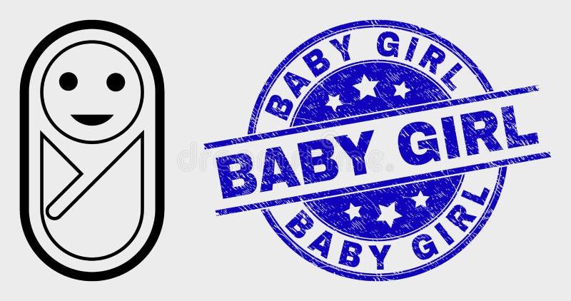 Icône nouveau-née linéaire de vecteur et joint grunge de bébé illustration de vecteur
