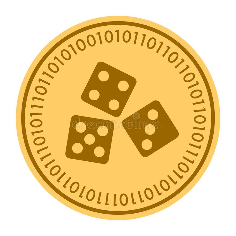 Icône numérique d'or de vecteur de pièce de monnaie de matrices symbole plat jaune de cryptocurrency de pièce de monnaie d'or d'i illustration libre de droits