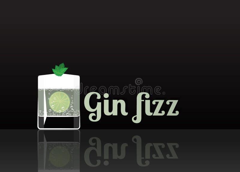 Icône officielle de cocktail, l'illustration inoubliable de bande dessinée de Gin Fizz illustration stock