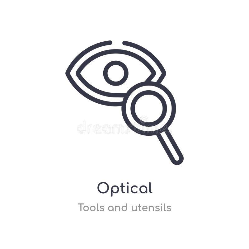 icône optique d'ensemble ligne d'isolement illustration de vecteur de collection d'outils et d'ustensiles icône optique de course illustration libre de droits