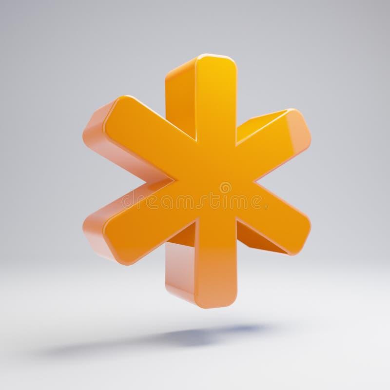 Icône orange chaude brillante volumétrique d'astérisque d'isolement sur le fond blanc illustration de vecteur