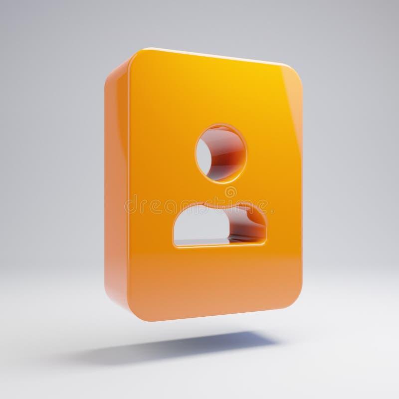 Icône orange chaude brillante volumétrique de portrait d'isolement sur le fond blanc illustration libre de droits