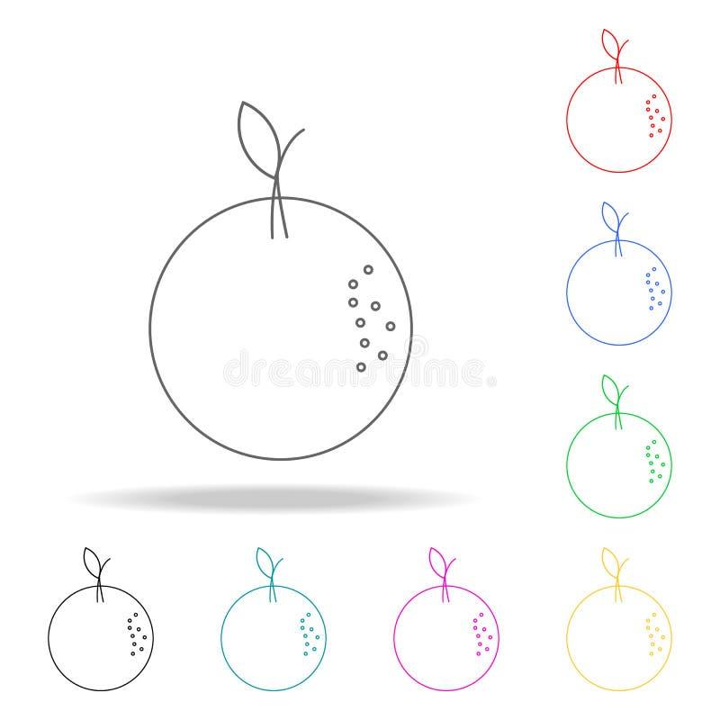 Icône orange Icônes colorées multi de sapeurs-pompiers d'élément pour les apps mobiles de concept et de Web Ligne mince icône pou illustration de vecteur