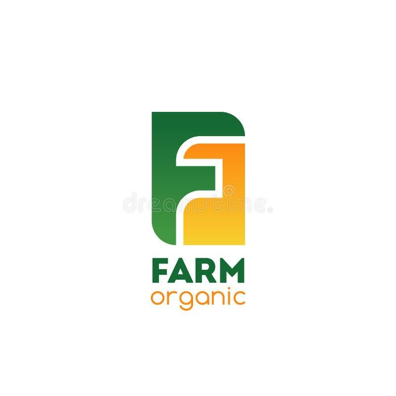 Icône organique de la lettre F de vecteur de société de ferme illustration stock