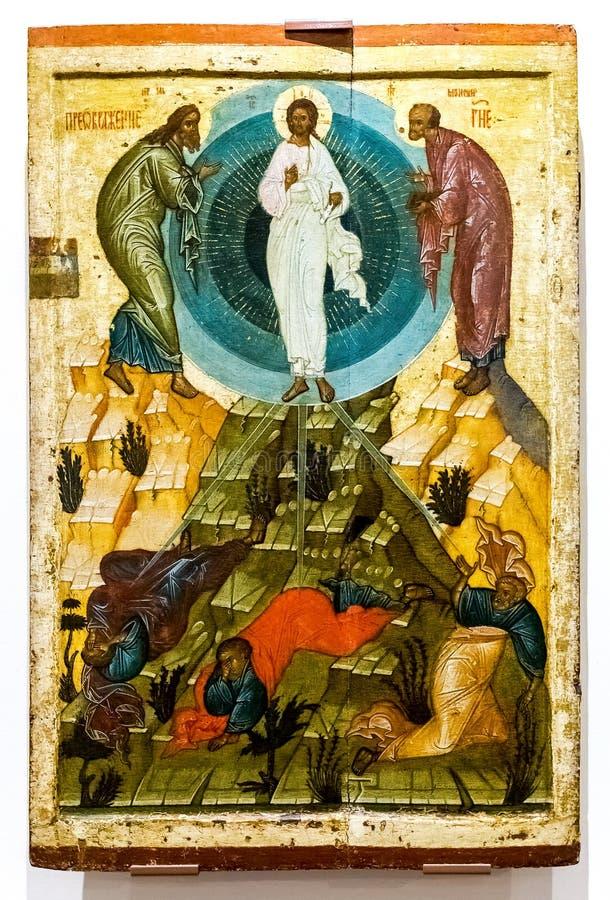 Icône orthodoxe russe antique La transfiguration de Dieu photos stock