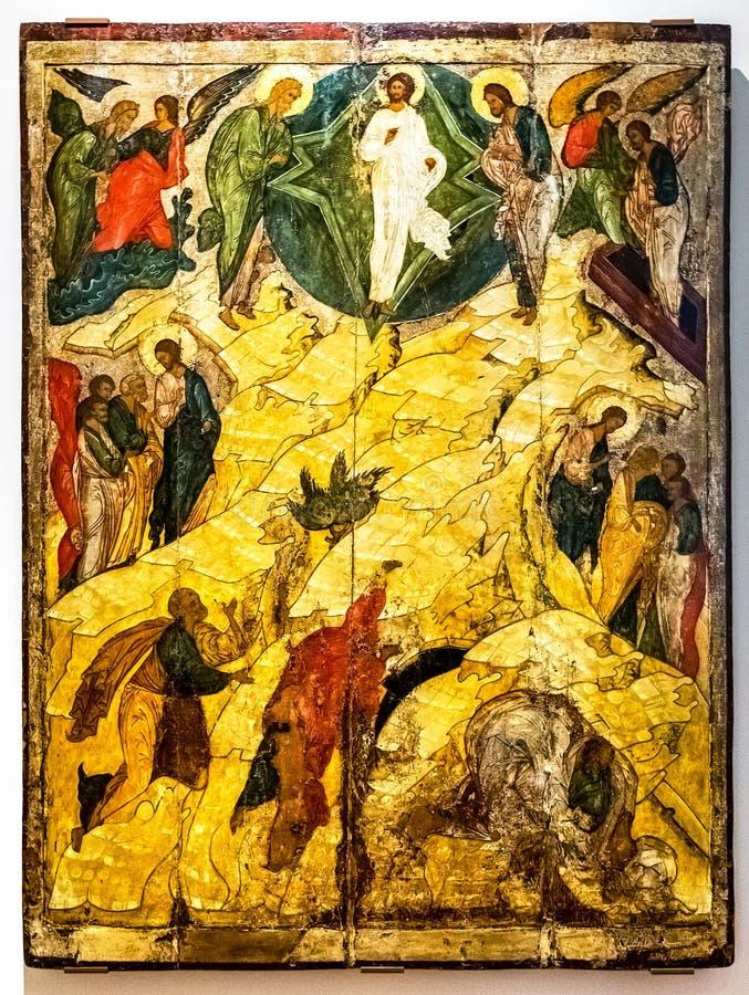 Icône orthodoxe russe antique, la transfiguration photos stock