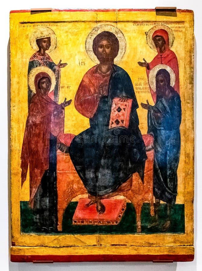 Icône orthodoxe russe antique, le Deesis images libres de droits