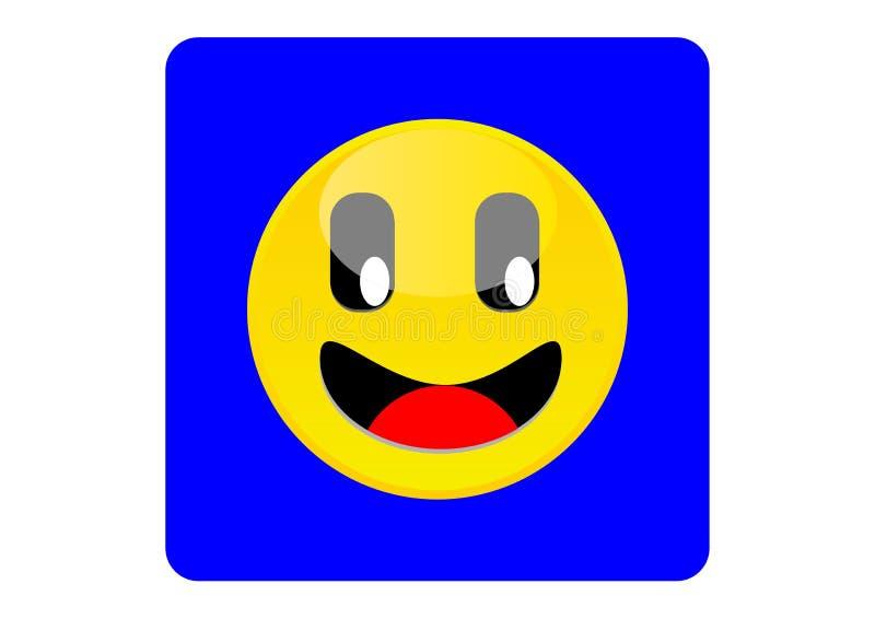Icône ou émoticône jaune de sourire illustration stock