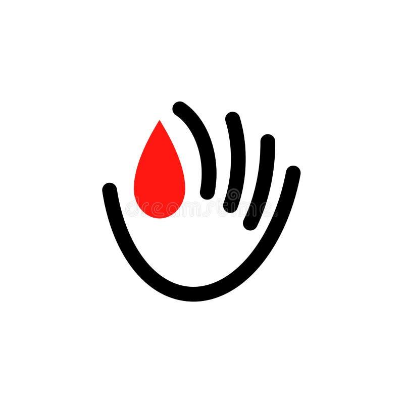 Icône ou calibre de logo de donner le concept de sang pour le jour de donneur de sang du monde - 14 juin illustration stock