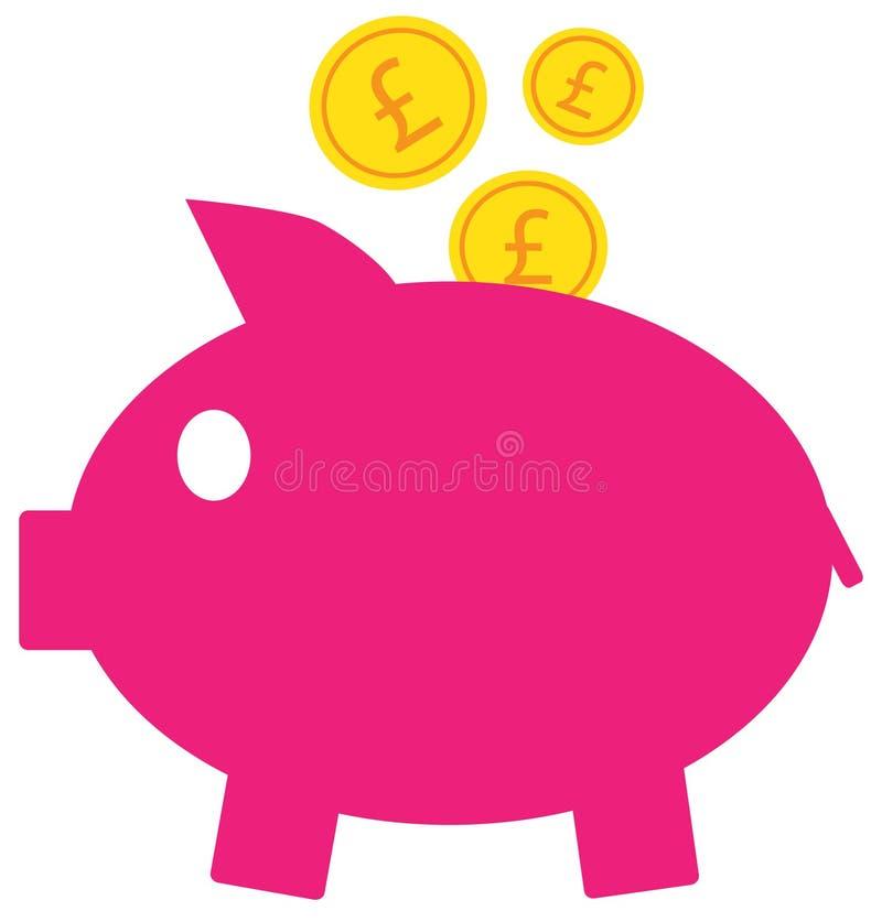 Icône ou logo de devise de livre sterling sur des pièces de monnaie entrant dans une tirelire illustration libre de droits