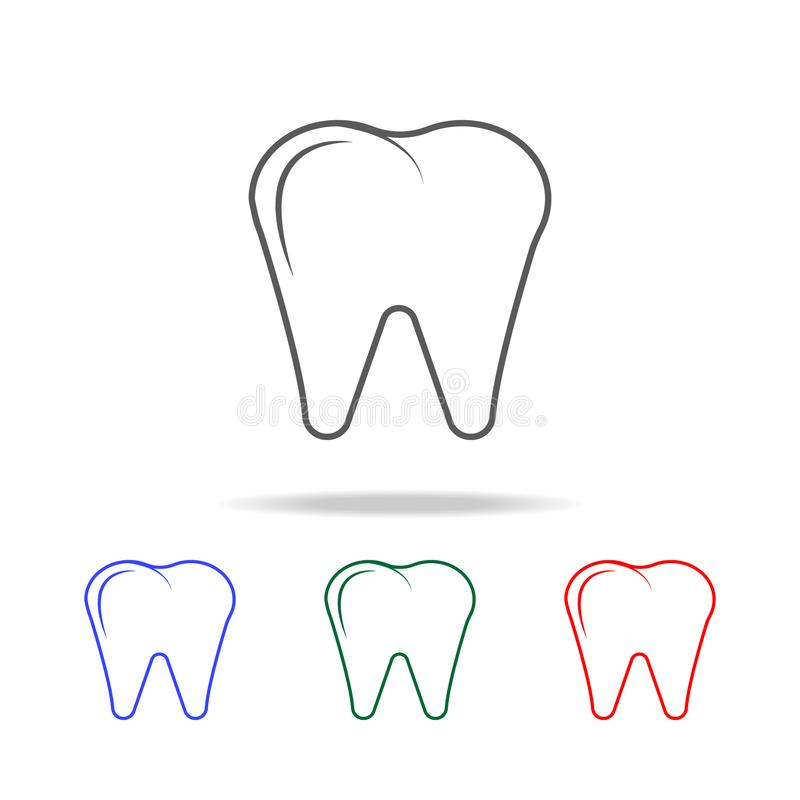 Icône ou logo de la meilleure qualité de dent dans la ligne style Éléments des icônes colorées multi de pièces de corps humain Ic illustration stock