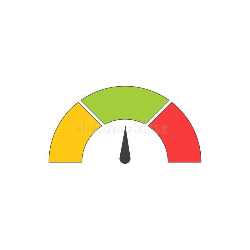 Icône ou signe de tachymètre avec la flèche Élément coloré de mesure d'Infographic Illustration de vecteur illustration de vecteur