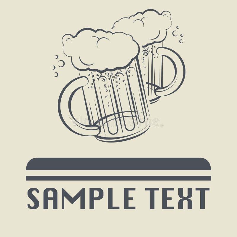 Icône ou signe en verre de bière illustration libre de droits