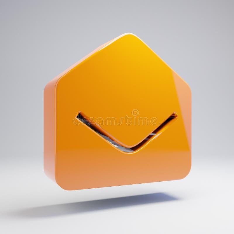 Icône ouverte d'enveloppe orange chaude brillante volumétrique d'isolement sur le fond blanc illustration de vecteur