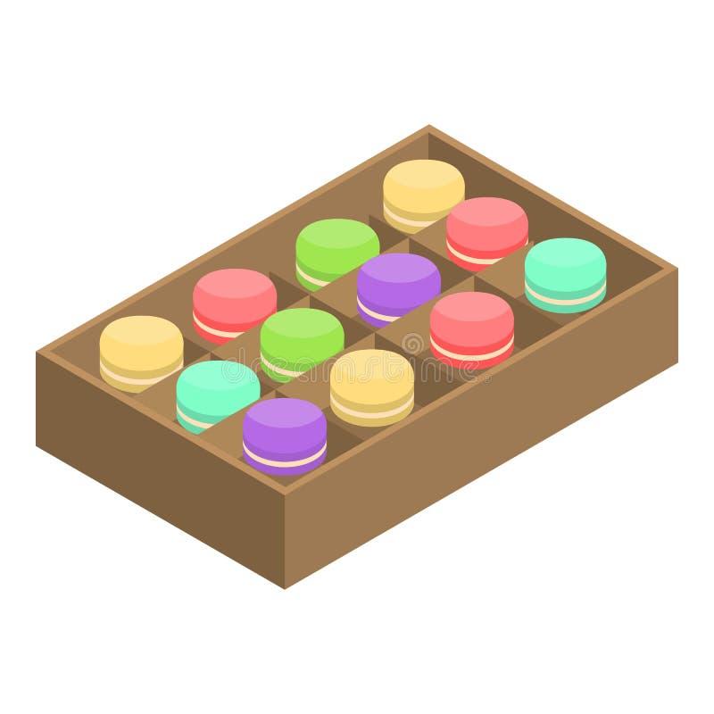 Icône ouverte de boîte à macaron, style isométrique illustration stock