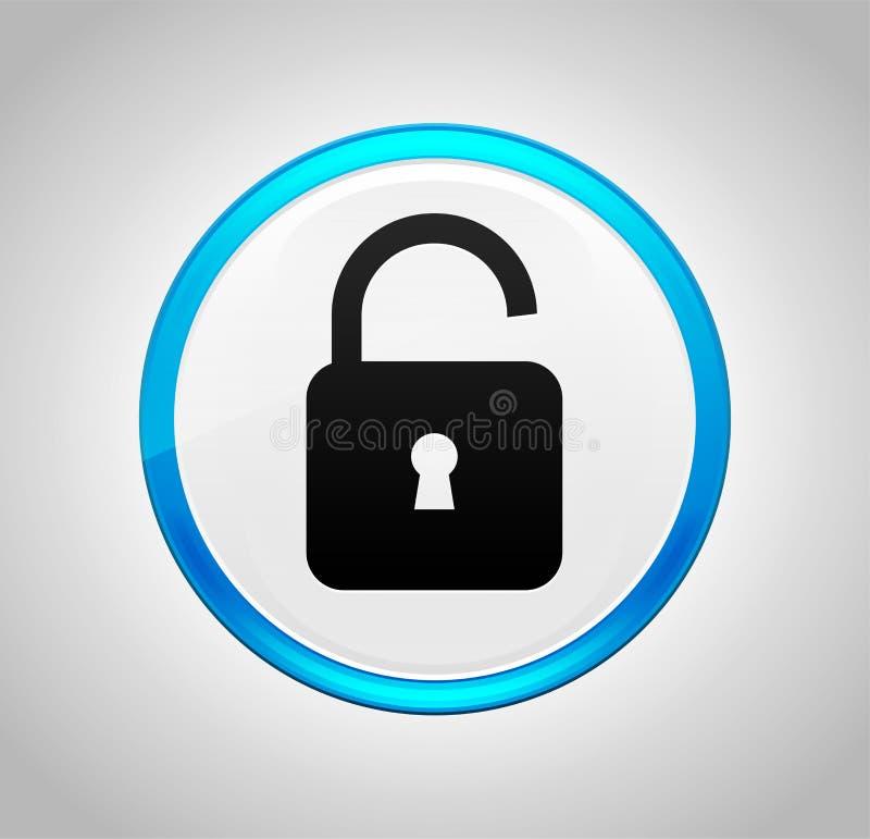 Icône ouverte de cadenas autour de bouton poussoir bleu photographie stock