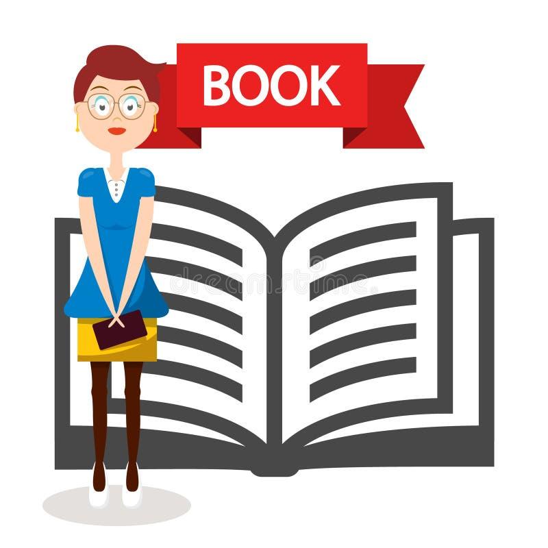 Icône ouverte de livre avec la femme illustration libre de droits