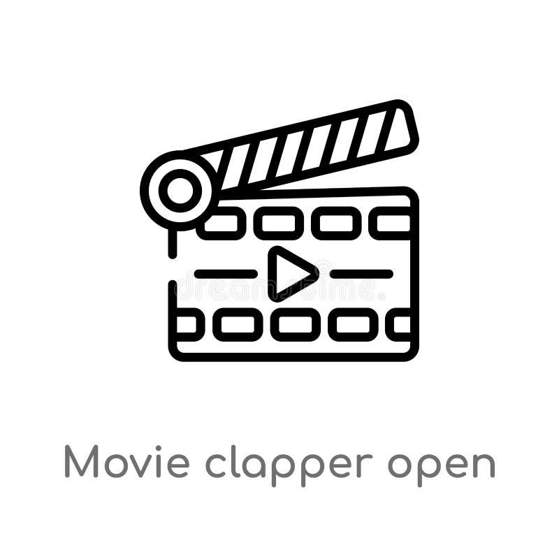 icône ouverte de vecteur de clapet de film d'ensemble ligne simple noire d'isolement illustration d'?l?ment de concept de cin?ma  illustration stock