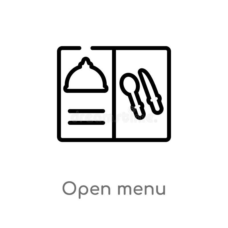ic?ne ouverte de vecteur de menu d'ensemble ligne simple noire d'isolement illustration d'?l?ment de concept de Bistros et de res illustration de vecteur