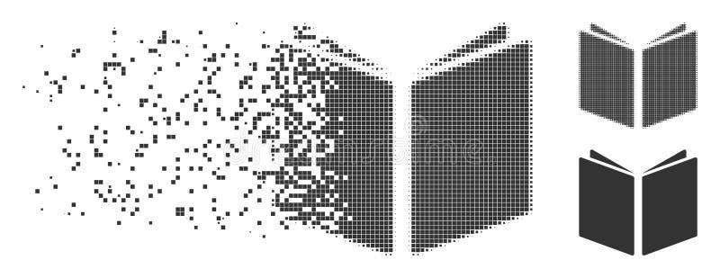 Icône ouverte endommagée de livre d'image tramée de pixel illustration de vecteur