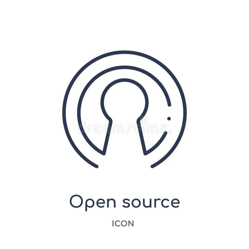 Icône ouverte linéaire de source de collection d'ensemble général Ligne mince icône ouverte de source d'isolement sur le fond bla illustration stock
