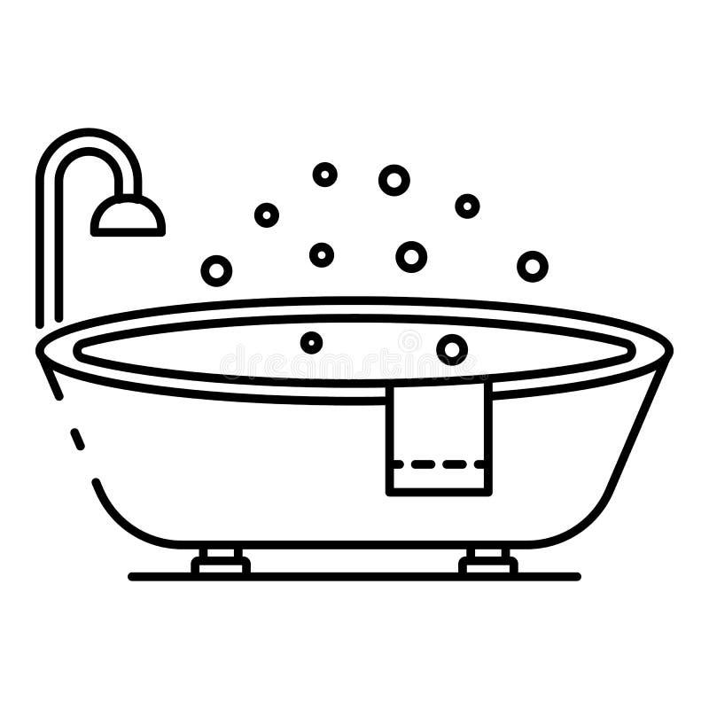 Icône ovale moderne de baignoire, style d'ensemble illustration de vecteur