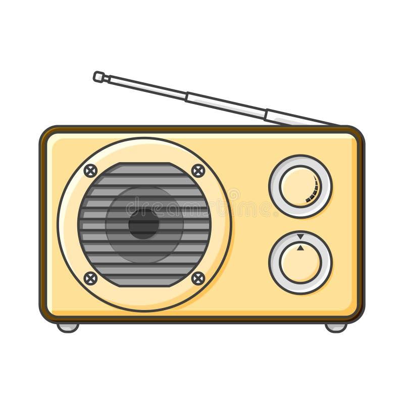 Icône par radio analogue avec un grand haut-parleur et signal et des boutons sains d'ajustement Illustration de vecteur sur le fo illustration stock