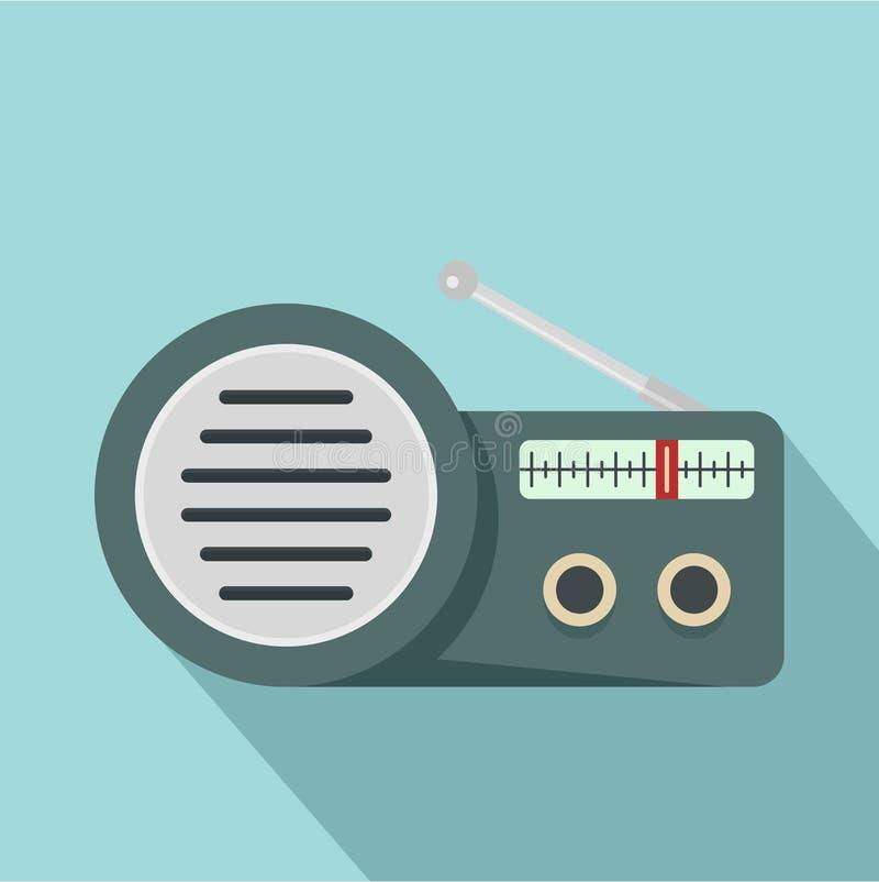 Icône par radio de haut-parleur, style plat illustration stock