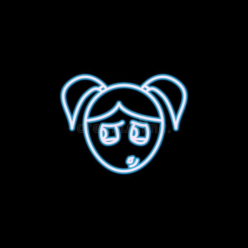 icône paranoïde de visage de fille dans le style au néon Un de l'icône de collection d'émotions peut être employé pour UI, UX illustration de vecteur