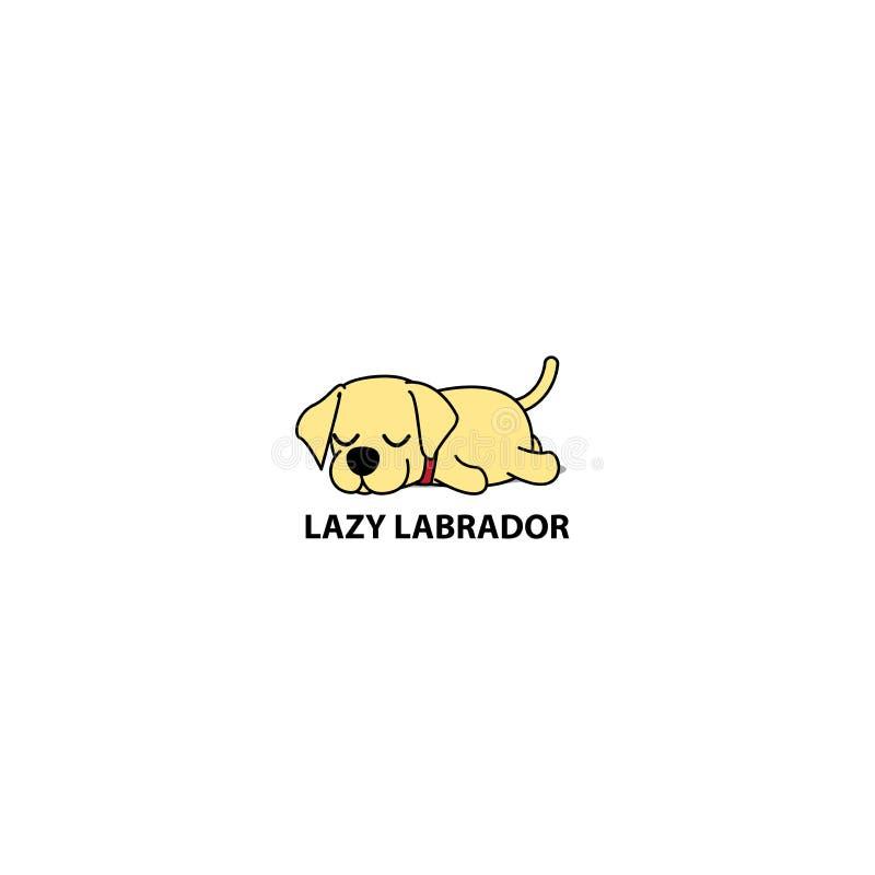 Icône paresseuse de chien, chiot mignon de Labrador dormant, conception de logo, illustration de vecteur illustration libre de droits