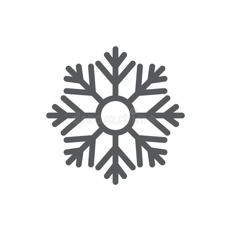 Icône parfaite de pixel de flocon de neige avec la course editable - élément saisonnier d'hiver de l'eau congelée d'isolement sur illustration libre de droits