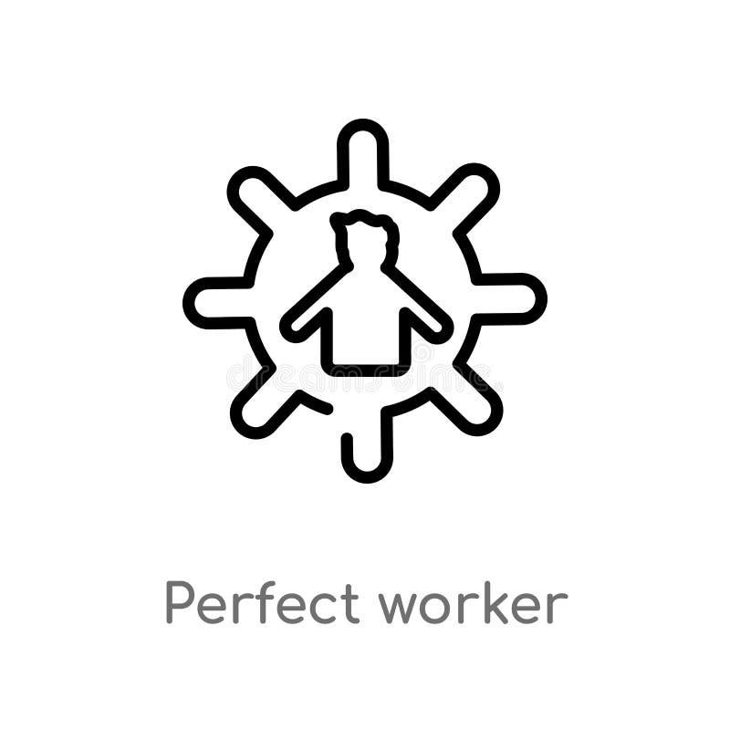 icône parfaite de vecteur de travailleur d'ensemble ligne simple noire d'isolement illustration d'élément de concept de personnes illustration libre de droits